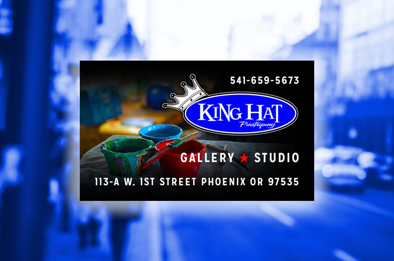 King hat pinstriping business card